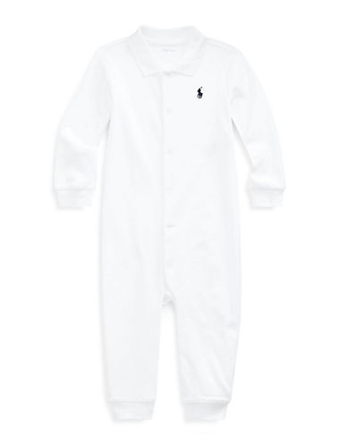 Ralph Lauren Childrenswear Solid Cotton Coverall-WHITE-12 Months