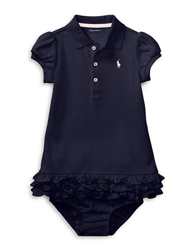 Ralph Lauren Childrenswear Ruffled Polo Dress Set-NAVY-18 Months