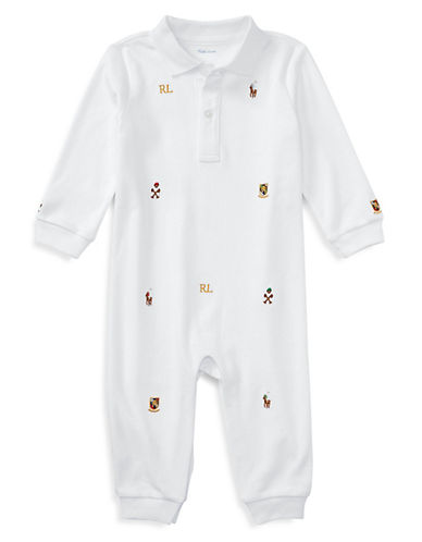 Ralph Lauren Childrenswear Polo Emblem Interlock Coverall-WHITE-12 Months