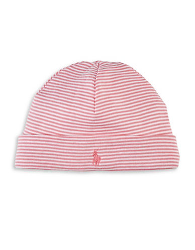Ralph Lauren Childrenswear Striped Cotton Beanie Hat-PINK-One Size