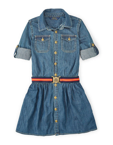Ralph Lauren Childrenswear Chambray Shirt Dress-BLUE-6X