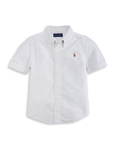 Ralph Lauren Childrenswear Cotton Oxford Button-Down Shirt-WHITE-6