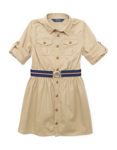 Ralph Lauren Childrenswear Chino Shirt Dress-KHAKI-6X