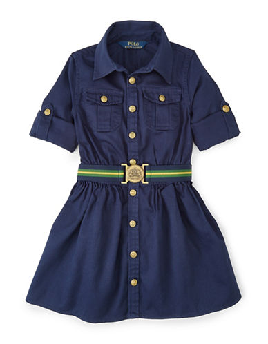 Ralph Lauren Childrenswear Chino Shirt Dress-NAVY-6