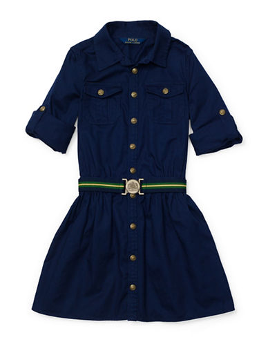 Ralph Lauren Childrenswear Chino Shirt Dress-NAVY-12