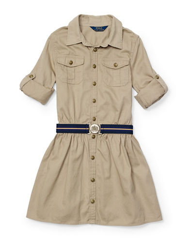 Ralph Lauren Childrenswear Chino Shirt Dress-KHAKI-14