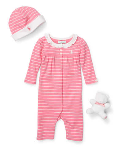 Ralph Lauren Childrenswear Three-Piece Cotton Coverall Set-PINK-3 Months