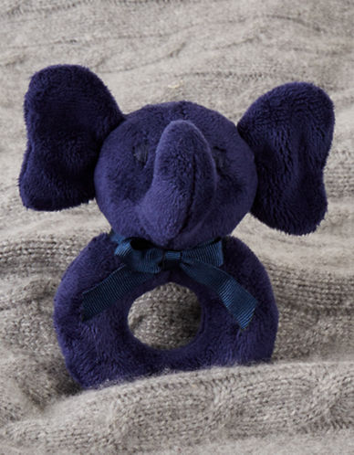 Ralph Lauren Childrenswear Elephant Plush Baby Rattle-FRENCH NAVY-One Size