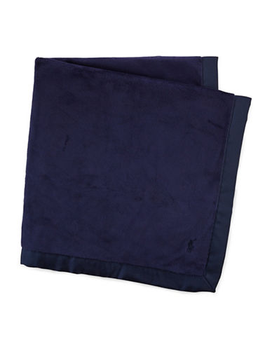 Ralph Lauren Childrenswear Brushed Embroidered Baby Blanket-FRENCH NAVY-One Size