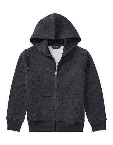 Ralph Lauren Childrenswear Classic Zip Hoodie-GREY-Small