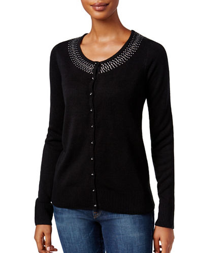 Karen Scott Rhinestone Long Sleeve Cardigan-BLACK-Small 88740458_BLACK_Small