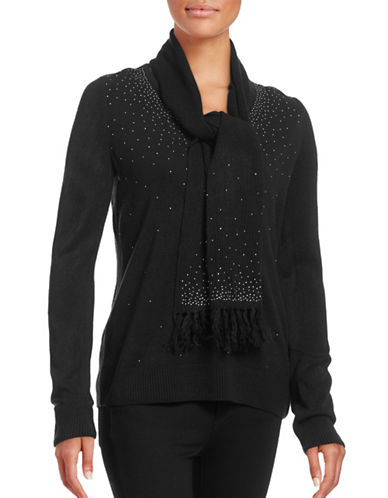 Karen Scott Embellished V-Neck Sweater with Scarf-BLACK-Large 88740477_BLACK_Large