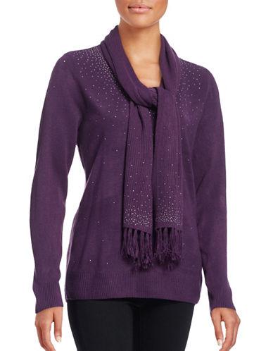 Karen Scott Embellished V-Neck Sweater with Scarf-PURPLE-Medium 88740480_PURPLE_Medium