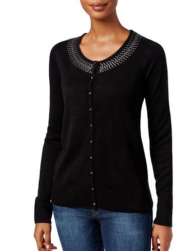 Karen Scott Petite Rhinestone Long Sleeve Cardigan-BLACK-Petite X-Small 88738087_BLACK_Petite X-Small