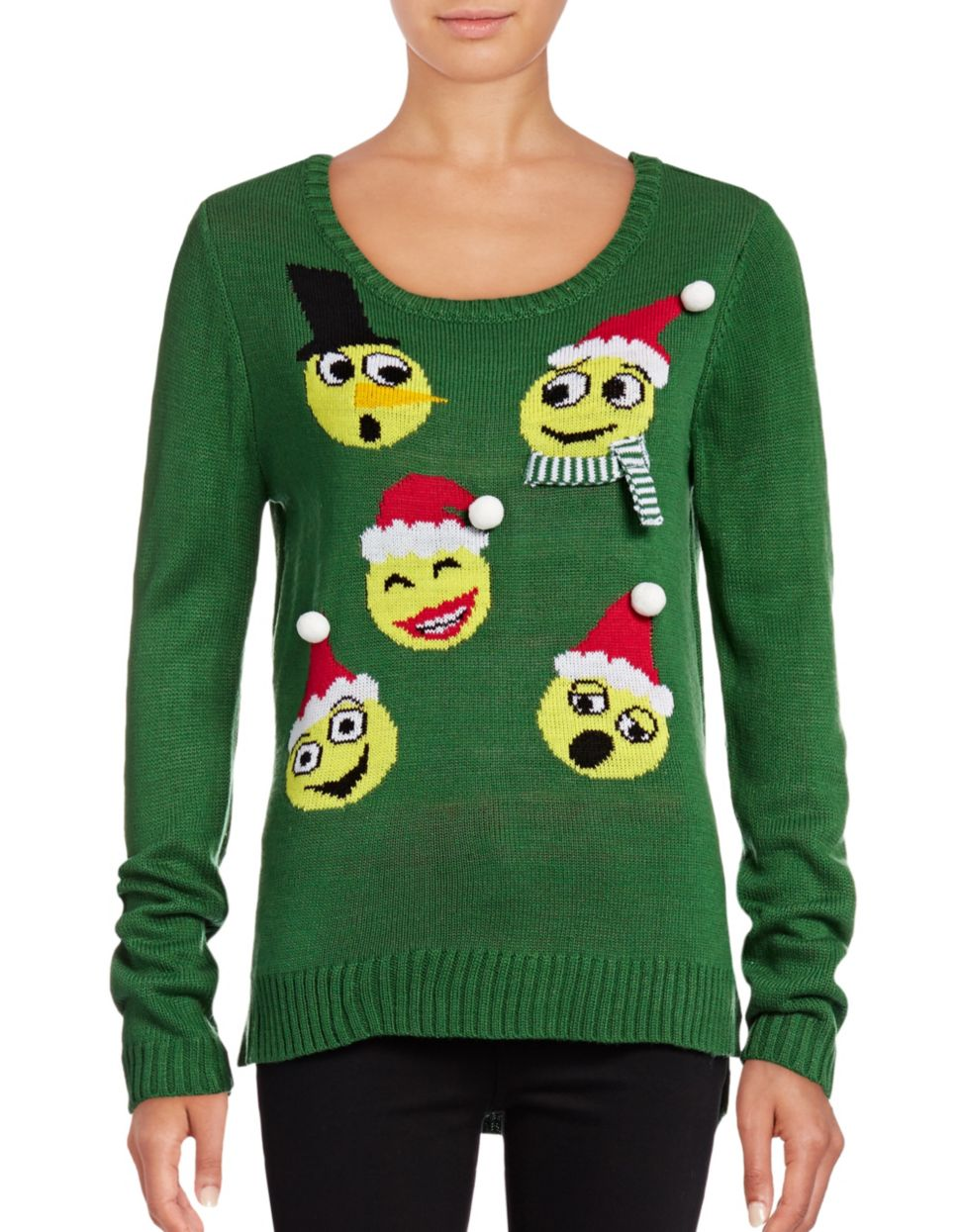 DESIGN LAB LORD & TAYLOR Festive Emoji Sweater