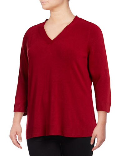 Karen Scott Plus Three-Quarter V-Neck Pullover-CHERRY-2X