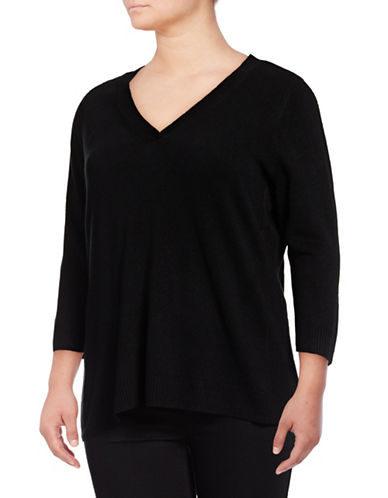 Karen Scott Plus Three-Quarter V-Neck Pullover-LUX BLACK-1X