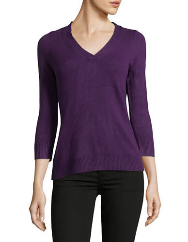 Karen Scott Petite Three-Quarter V-Neck Pullover-PURPLE-Petite Small