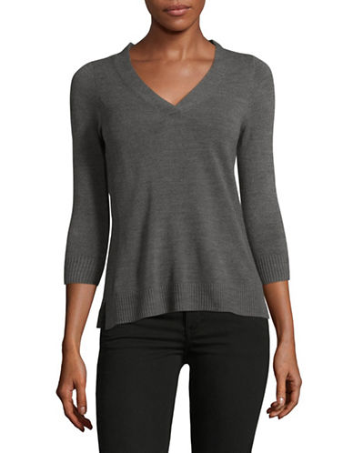 Karen Scott Petite Three-Quarter V-Neck Pullover-GREY-Petite Large