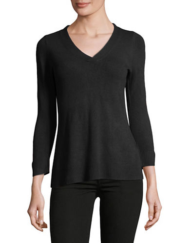 Karen Scott Petite Three-Quarter V-Neck Pullover-BLACK-Petite X-Small
