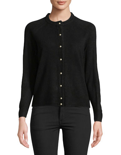 Karen Scott Petite Faux Pearl Button Cardigan-BLACK-Petite Large