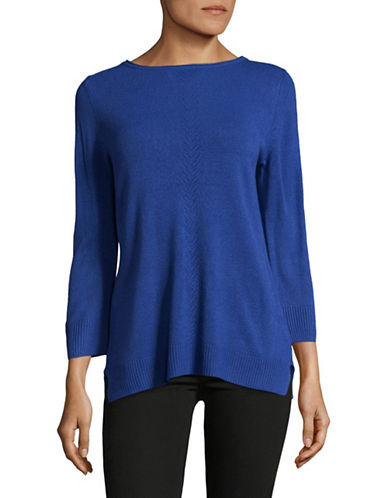 Karen Scott Luxsoft Roll neck Sweater-BLUE-Medium