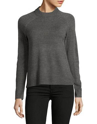 Karen Scott Luxsoft Zip Back Sweater-GREY-Large