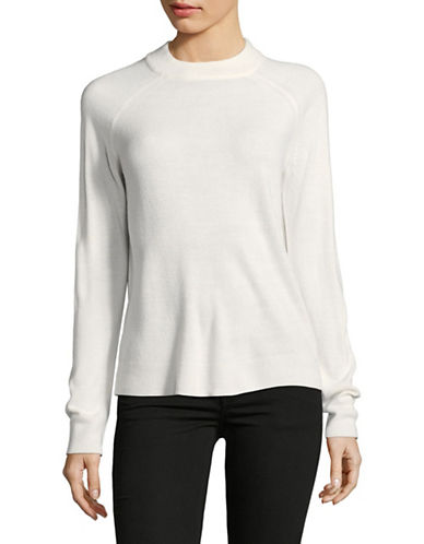 Karen Scott Luxsoft Zip Back Sweater-WHITE-Large
