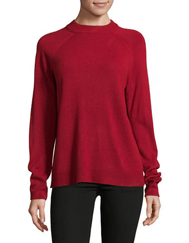 Karen Scott Luxsoft Zip Back Sweater-RED-Large