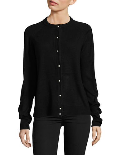 Karen Scott Luxsoft Pearl Button Cardigan-BLACK-Small