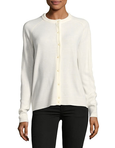 Karen Scott Luxsoft Pearl Button Cardigan-WHITE-X-Large