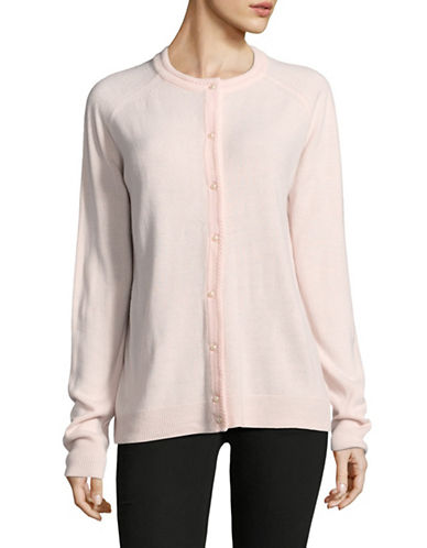Karen Scott Luxsoft Pearl Button Cardigan-PINK-Large