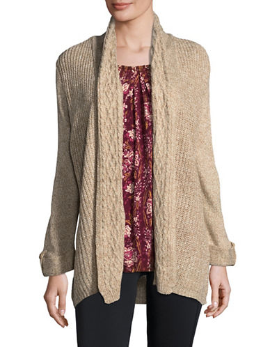 Karen Scott Turbo Knit Cardigan-BROWN-X-Large