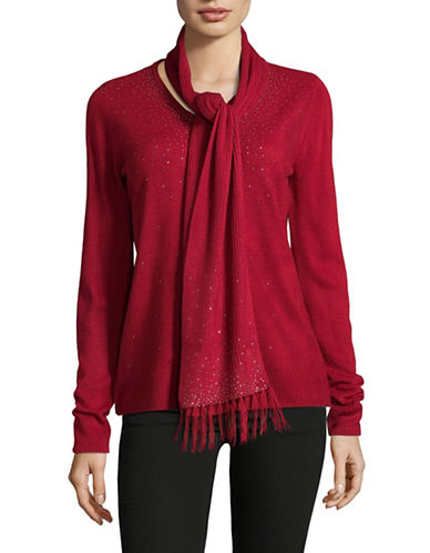 Karen Scott Two-Piece Embellished Top and Scarf-RED-Medium