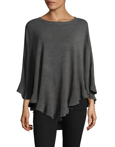 Karen Scott Ruffle Poncho-GREY-Small/Medium