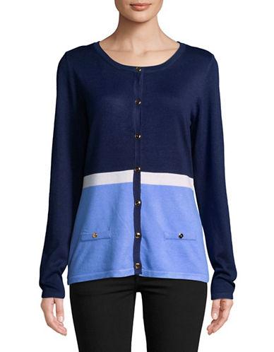Karen Scott Colourblock Button-Down Cardigan-BLUE-Small