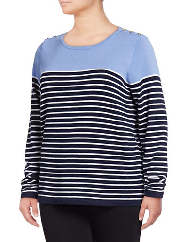 Karen Scott Plus Tri-Tone Striped Pullover-BLUE-3X