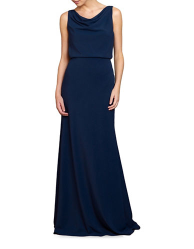 Jenny Yoo Madelyn Draped Skirt Gown-NAVY-8