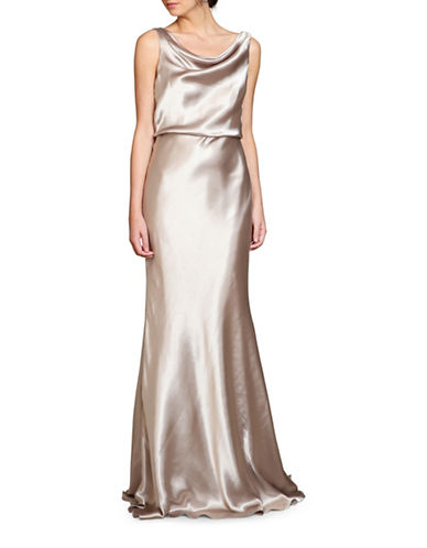 Jenny Yoo Madelyn Charmeuse Cowl-Neck Gown-LATTE-6