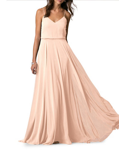 Jenny Yoo Inesse Chiffon V-Neck Dress-BLUSH-2