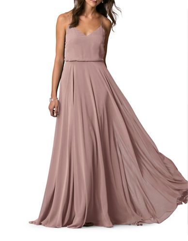 Jenny Yoo Inesse Chiffon V-Neck Dress-WISTERIA-0