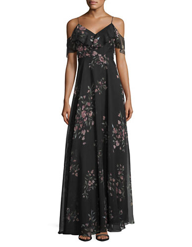 Jenny Yoo Mila Off-Shoulder Dress in Eden Bouquet Print-BLACK CINNAMON ROSE-14