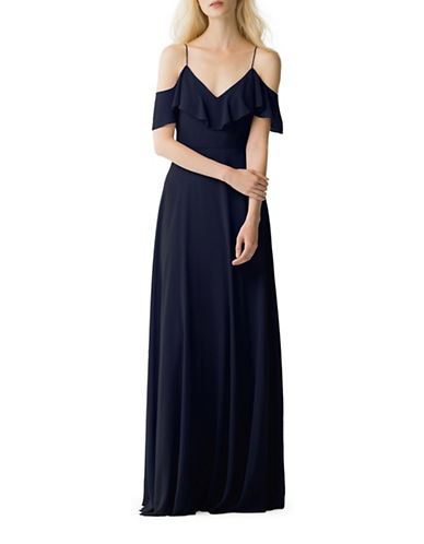 Jenny Yoo Mila Luxe Chiffon Off-Shoulder Dress-NAVY-14