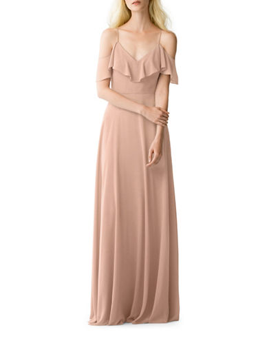 Jenny Yoo Mila Luxe Chiffon Off-Shoulder Dress-BLUSH-2