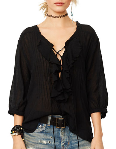 Denim & Supply Ralph Lauren Ruffled Poet Top-BLACK-X-Large