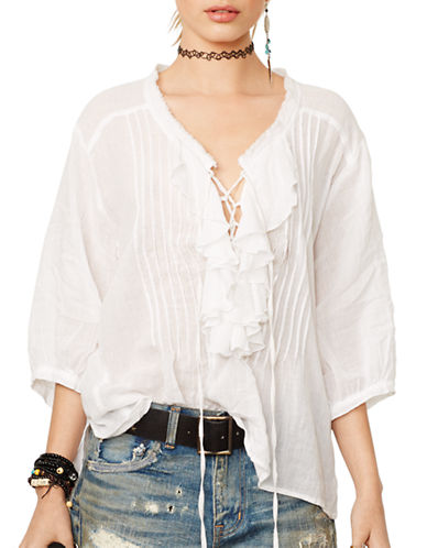 Denim & Supply Ralph Lauren Ruffled Poet Top-WHITE-Medium 87335078_WHITE_Medium