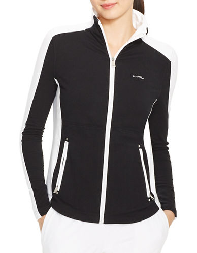 Lauren Ralph Lauren Plus Mockneck Track Jacket-BLACK-3X plus size,  plus size fashion plus size appare
