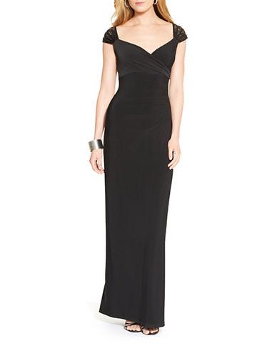 Lauren Ralph Lauren Lace Cap Sleeve Jersey Gown-BLACK-10  AT vintagedancer.com