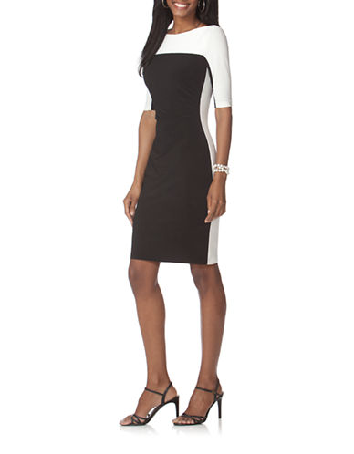 Chaps Two-Toned Jersey Dress-BLACK-X-Large