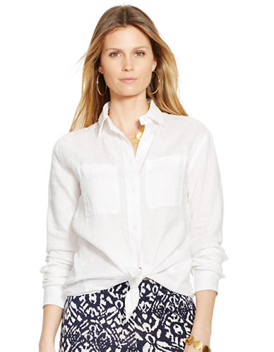 Lauren Ralph Lauren Linen Tunic-WHITE-Medium